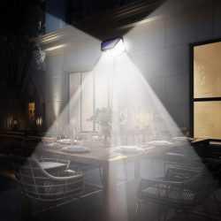 100 LED 270 ° Водоустойчива градинска соларна лампа на едро 8