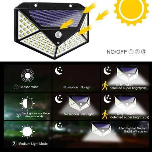 100 LED 270 ° Водоустойчива градинска соларна лампа 6