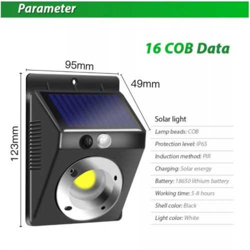 16 COB соларна лампа с датчик за движение на едро 5