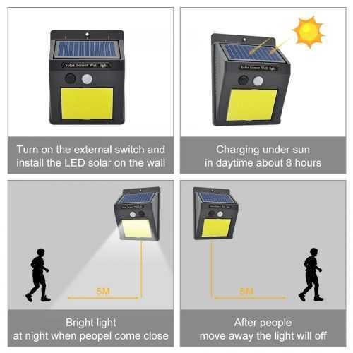 60 лед Соларна Лампа с Датчик за Движение 14
