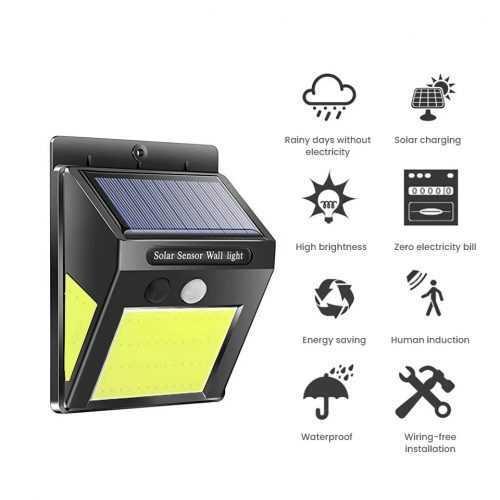 60 лед Соларна Лампа с Датчик за Движение 5