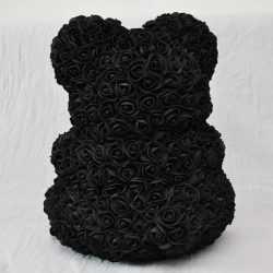 Декоративно мече от изкуствени рози черно на едро 4