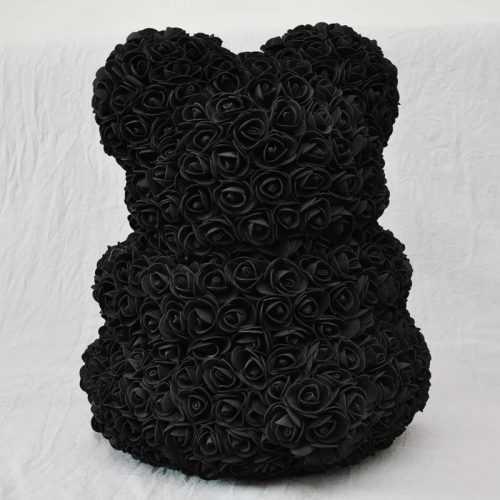 Декоративно мече от изкуствени рози черно на едро 2