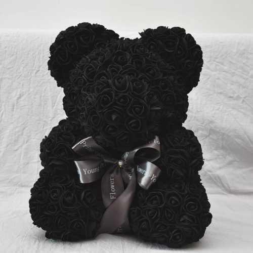 Декоративно мече от изкуствени рози черно на едро