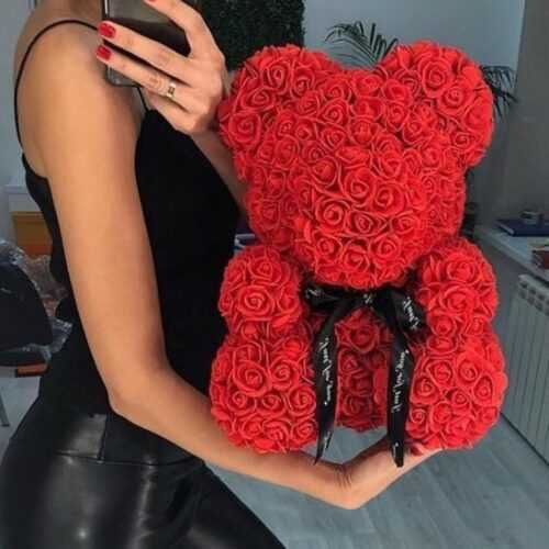 Мече от рози, Rose Bear в подаръчна кутия 2