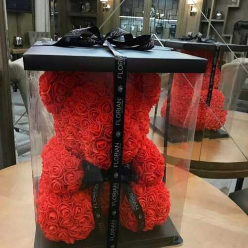 Мече от рози, Rose Bear в подаръчна кутия 4
