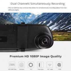 """Видeорегистратор в огледало за обратно виждане за автомобил, 4.3"""" Full HD дисплей, 1080P 170° предна камера, 1080P 150° задна широкоъгална камера, G-Sensor, нощно виждане 7"""