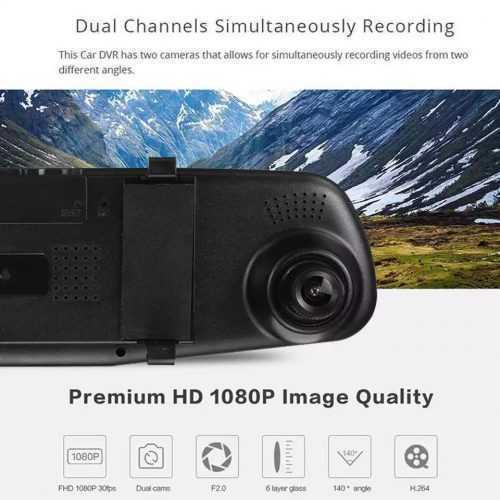 """Видeорегистратор в огледало за обратно виждане за автомобил, 4.3"""" Full HD дисплей, 1080P 170° предна камера, 1080P 150° задна широкоъгална камера, G-Sensor, нощно виждане 2"""