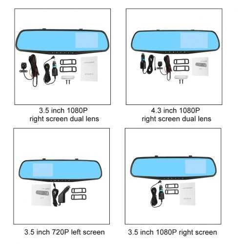 """Видeорегистратор в огледало за обратно виждане за автомобил, 4.3"""" Full HD дисплей, 1080P 170° предна камера, 1080P 150° задна широкоъгална камера, G-Sensor, нощно виждане 3"""