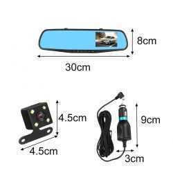 """Видeорегистратор в огледало за обратно виждане за автомобил, 4.3"""" Full HD дисплей, 1080P 170° предна камера, 1080P 150° задна широкоъгална камера, G-Sensor, нощно виждане 9"""