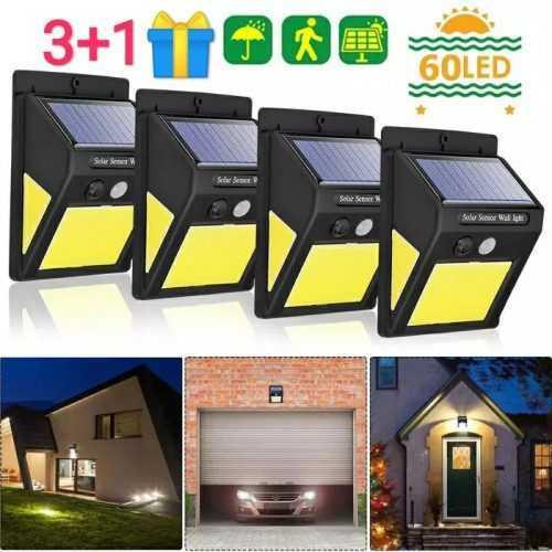 3+1 подарък 60 LED Соларна Лампа с Датчик за Движение 3