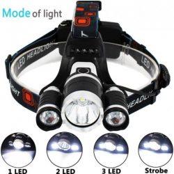 Челник с 3 LED диода фенер за глава 11