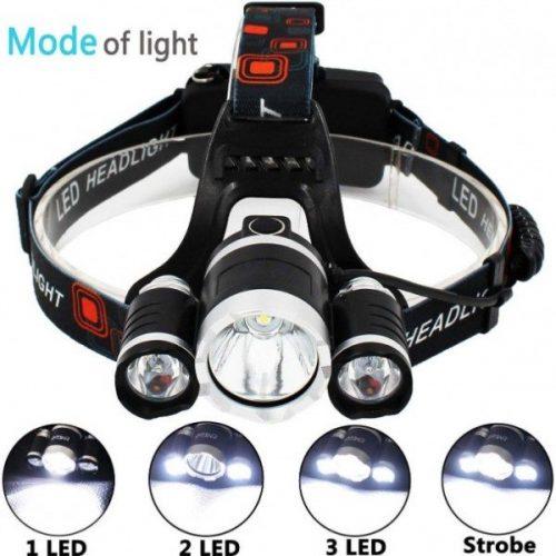 Челник с 3 LED диода фенер за глава 5