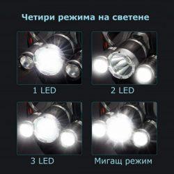 Челник с 3 LED диода фенер за глава 12
