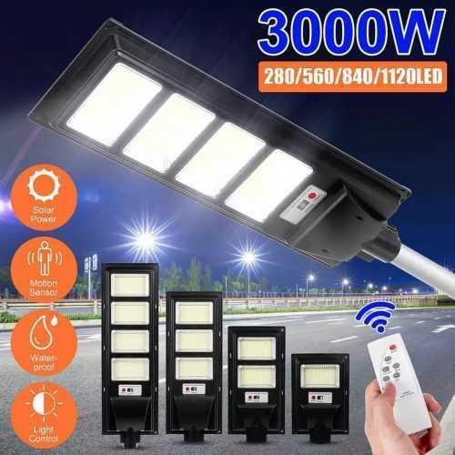 Соларна улична LED 30/60/90/120W лампа със сензор движение 8