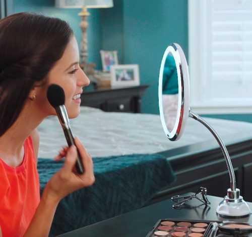 LED Огледало С 10х Увеличение, LED светлина и гъвкаво рамо 4