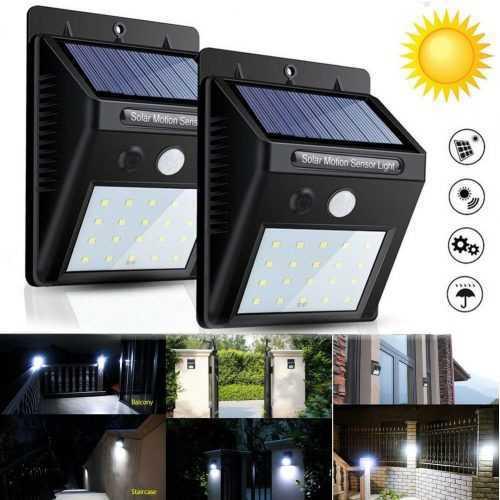 2 броя 20 LED Соларна лампа за стена с датчик за движение 3