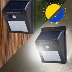 2 броя 20 LED Соларна лампа за стена с датчик за движение 5