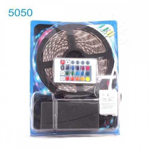 Комплект RGB LED лента 5 метра, диод 5050, с дистанционно и захранване 3