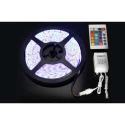 Комплект RGB LED лента 5 метра, диод 5050, с дистанционно и захранване 15