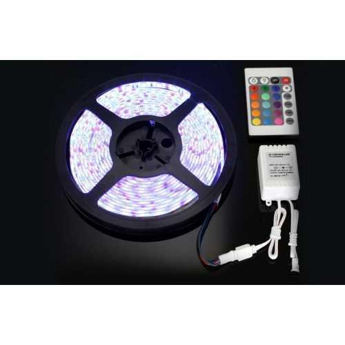 Комплект RGB LED лента 5 метра, диод 5050, с дистанционно и захранване 9