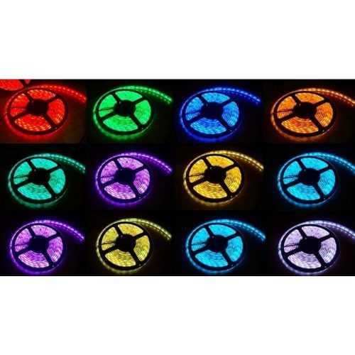 Комплект RGB LED лента 5 метра, диод 5050, с дистанционно и захранване 8