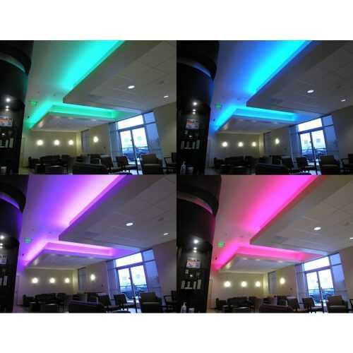 Комплект RGB LED лента 5 метра, диод 5050, с дистанционно и захранване 7