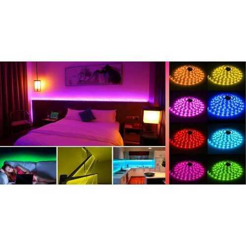Комплект RGB LED лента 5 метра, диод 5050, с дистанционно и захранване 5