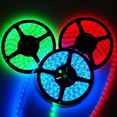 Комплект RGB LED лента 5 метра, диод 5050, с дистанционно и захранване 4
