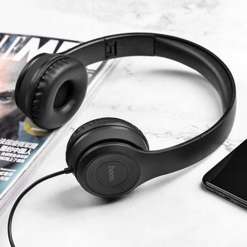 Слушалки Hoco W21 с кабел, Тип On-ear, Сгъваеми, Hi-Fi Стерео, Черни и Бели 3