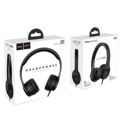 Слушалки Hoco W21 с кабел, Тип On-ear, Сгъваеми, Hi-Fi Стерео, Черни и Бели 4