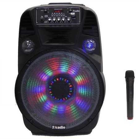 Караоке Тонколона 15 инча PAudio-151, Безжичен Микрофон, акумулаторна батерия, Bluetooth, FM радио, USB, micro SD card player 4