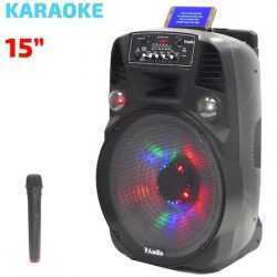 Караоке Тонколона 15 инча PAudio-151, Безжичен Микрофон, акумулаторна батерия, Bluetooth, FM радио, USB, micro SD card player 8