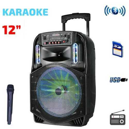 Караоке Тонколона 12 инча PAudio безжичен Микрофон, Цветомузика, Bluetooth, FM радио, USB, micro SD card player, акумулаторна батерия 4