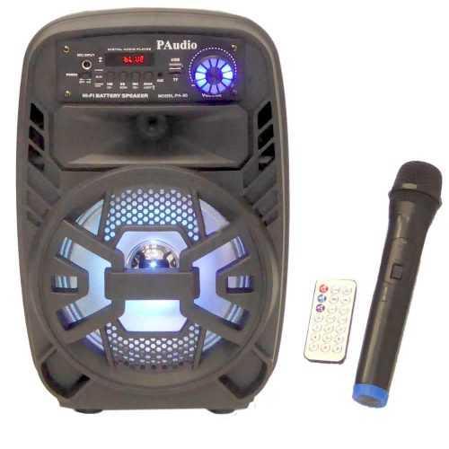 Караоке Тонколона 8 инча PAudio-80, Безжичен Микрофон, акумулаторна батерия, Bluetooth, FM радио, USB, micro SD card player 4
