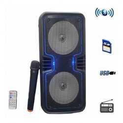 """Караоке Тонколона 2x6.5"""" S-6, 1 безжичен микрофон, Bluetooth, FM радио, micro SD/USB/AUX, Светлинни ефекти, черна 5"""