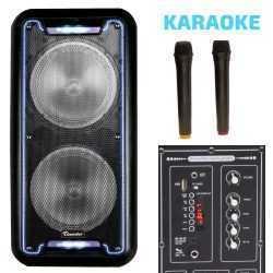 Караоке Тонколона 2x8 инча Thunder-B821 два Безжични Микрофона, Акумулаторна батерия, Bluetooth, FM радио, USB, micro SD card player, THS-B821 7
