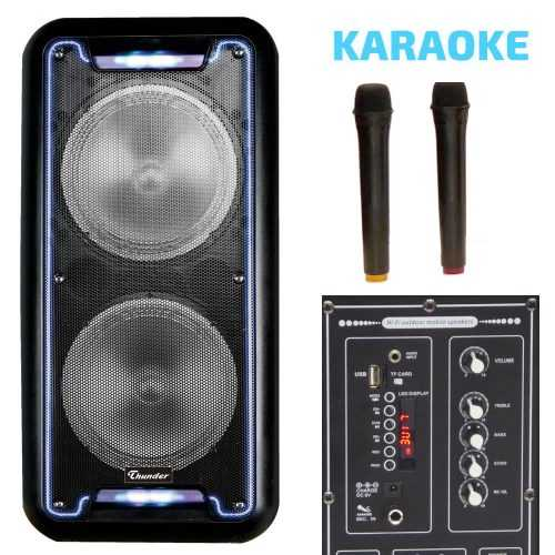 Караоке Тонколона 2x8 инча Thunder-B821 два Безжични Микрофона, Акумулаторна батерия, Bluetooth, FM радио, USB, micro SD card player, THS-B821 5