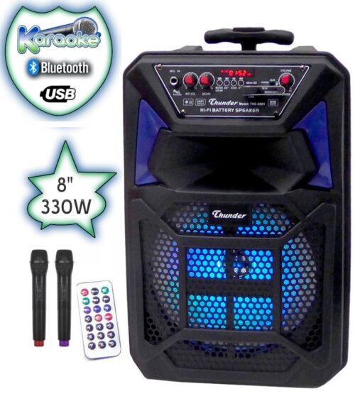 Караоке Тонколона 8 инча Thunder, два Безжични Микрофона, акумулаторна батерия, Bluetooth, FM радио, USB, micro SD card player, THS-B801 3