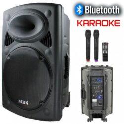 Караоке колона MBA F15W LUX с Bluetooth, SD карта, флашка, 2 броя безжични микрофони и цветомузика 8