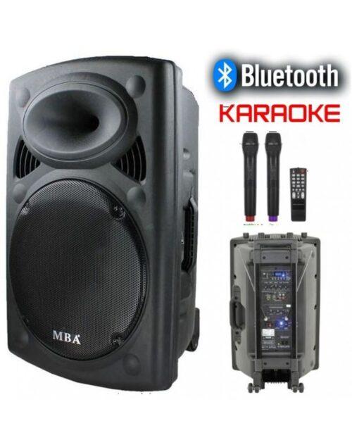 Караоке колона MBA F15W LUX с Bluetooth, SD карта, флашка, 2 броя безжични микрофони и цветомузика 5