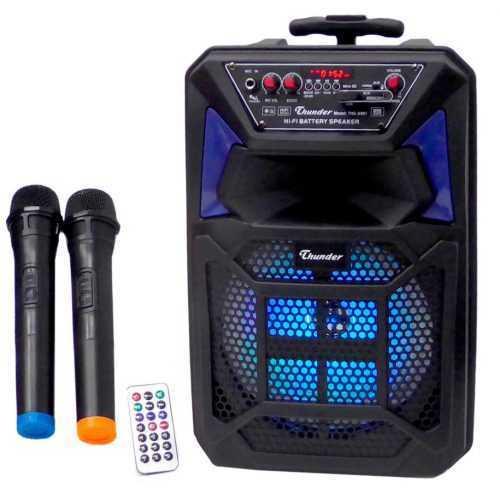 Караоке Тонколона 8 инча Thunder, два Безжични Микрофона, акумулаторна батерия, Bluetooth, FM радио, USB, micro SD card player, THS-B801 4