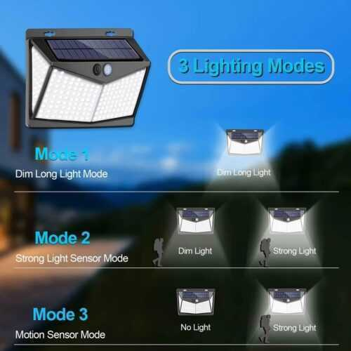 Соларна 208 LED водоустойчива градинска лампа 7