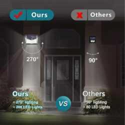 Соларна 208 LED водоустойчива градинска лампа 13