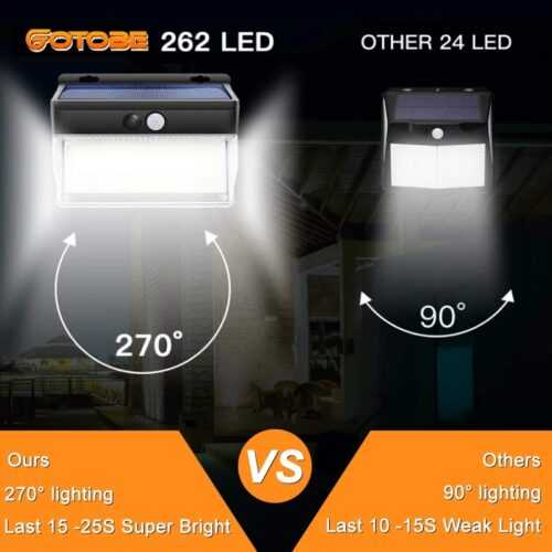 262 LED с PIR сензор за движение Градинска охранителна стенна лампа 6