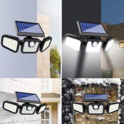 74 LED соларен прожектор с 3 режима и PIR сензор за движение 8