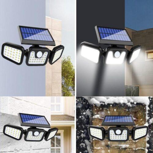 74 LED соларен прожектор с 3 режима и PIR сензор за движение 5