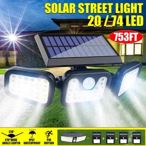 74 LED соларен прожектор с 3 режима и PIR сензор за движение 4