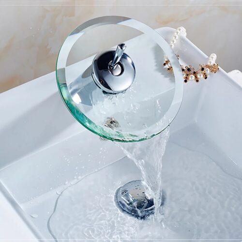 Стъклен смесител за баня 4