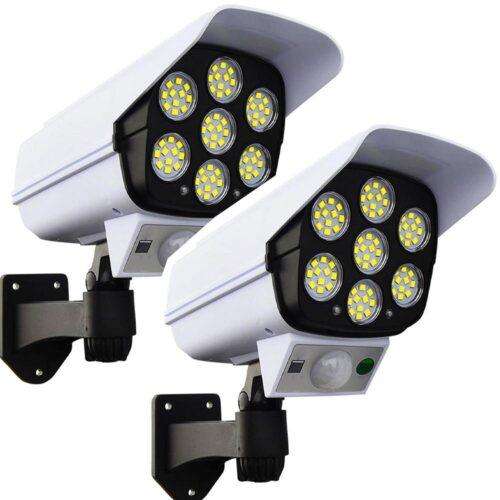 2бр. LED Соларна Лампа тип Камера с дистанционно 180W Мощност 77LED 3